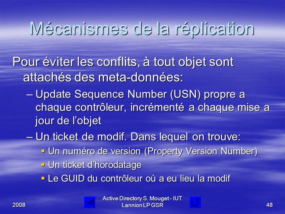 2008 Active Directory S. Mouget - IUT Lannion LP GSR48 Mécanismes de la réplication Pour éviter les conflits, à tout objet sont attachés des meta-donn