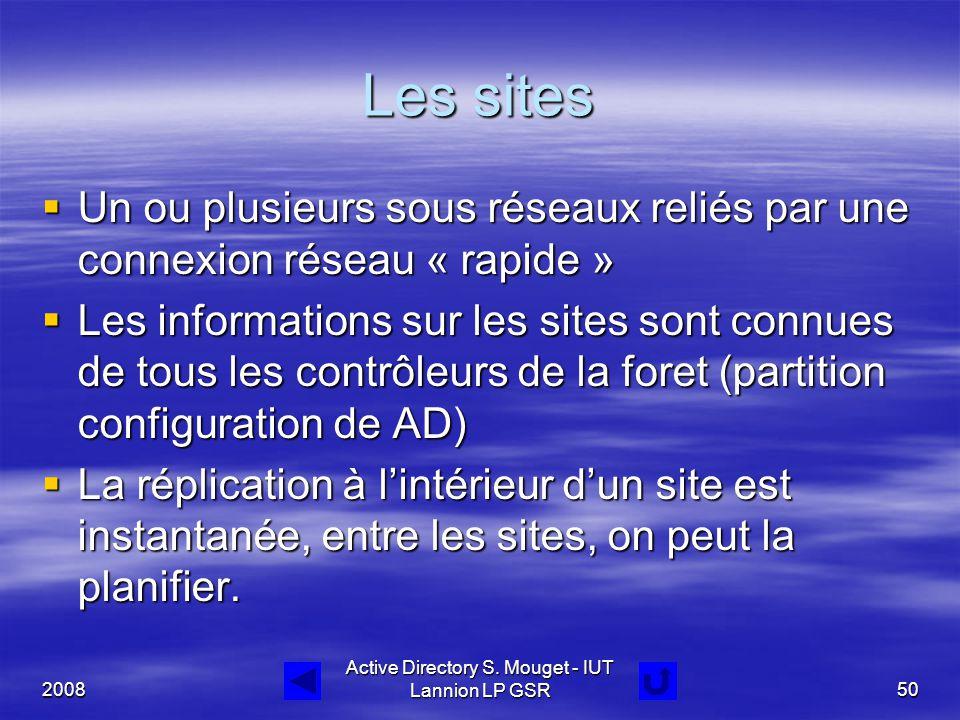 2008 Active Directory S. Mouget - IUT Lannion LP GSR50 Les sites  Un ou plusieurs sous réseaux reliés par une connexion réseau « rapide »  Les infor