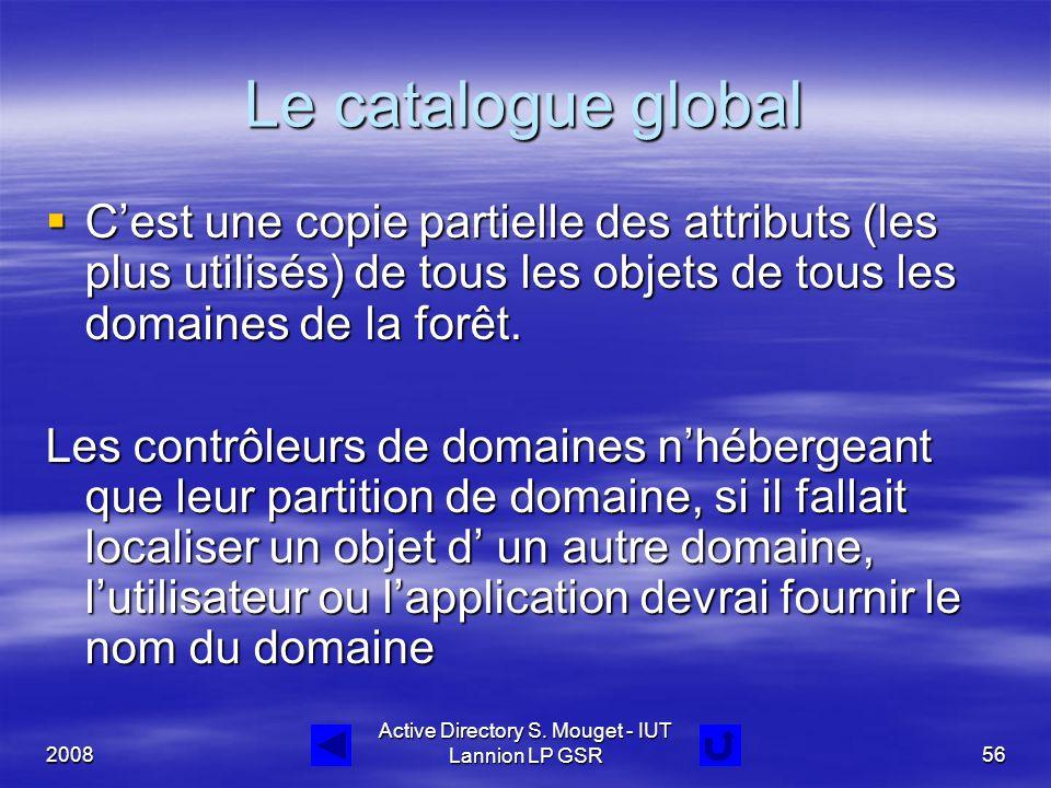 2008 Active Directory S. Mouget - IUT Lannion LP GSR56 Le catalogue global  C'est une copie partielle des attributs (les plus utilisés) de tous les o