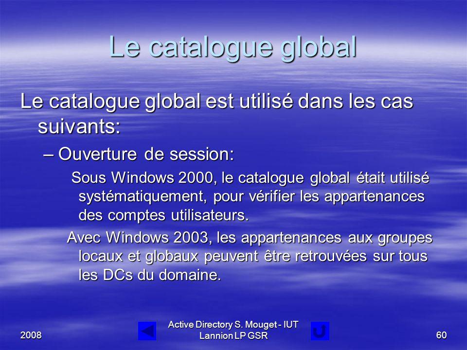 2008 Active Directory S. Mouget - IUT Lannion LP GSR60 Le catalogue global Le catalogue global est utilisé dans les cas suivants: –Ouverture de sessio