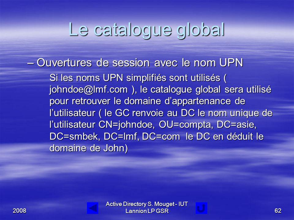2008 Active Directory S. Mouget - IUT Lannion LP GSR62 Le catalogue global –Ouvertures de session avec le nom UPN Si les noms UPN simplifiés sont util