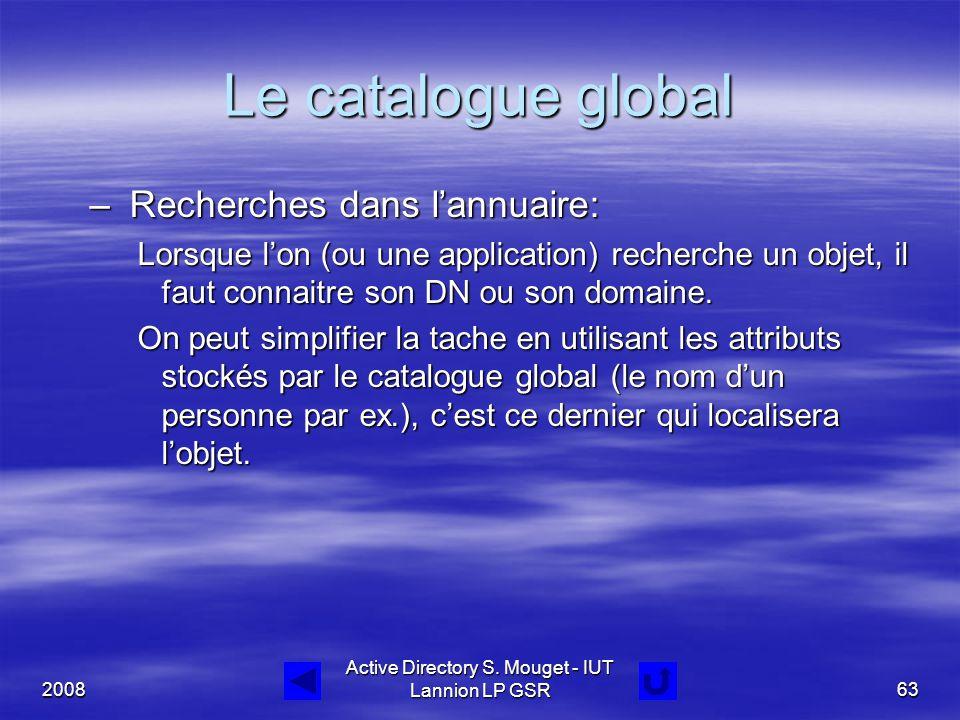 2008 Active Directory S. Mouget - IUT Lannion LP GSR63 Le catalogue global – Recherches dans l'annuaire: Lorsque l'on (ou une application) recherche u