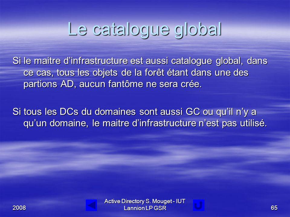 2008 Active Directory S. Mouget - IUT Lannion LP GSR65 Le catalogue global Si le maitre d'infrastructure est aussi catalogue global, dans ce cas, tous