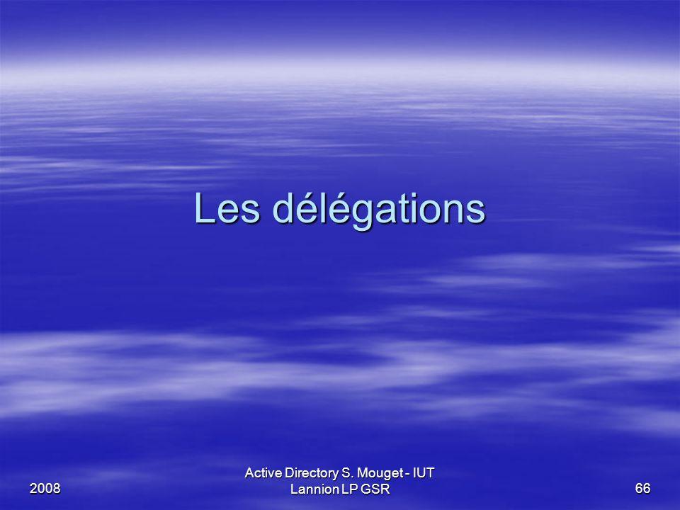 2008 Active Directory S. Mouget - IUT Lannion LP GSR 66 Les délégations