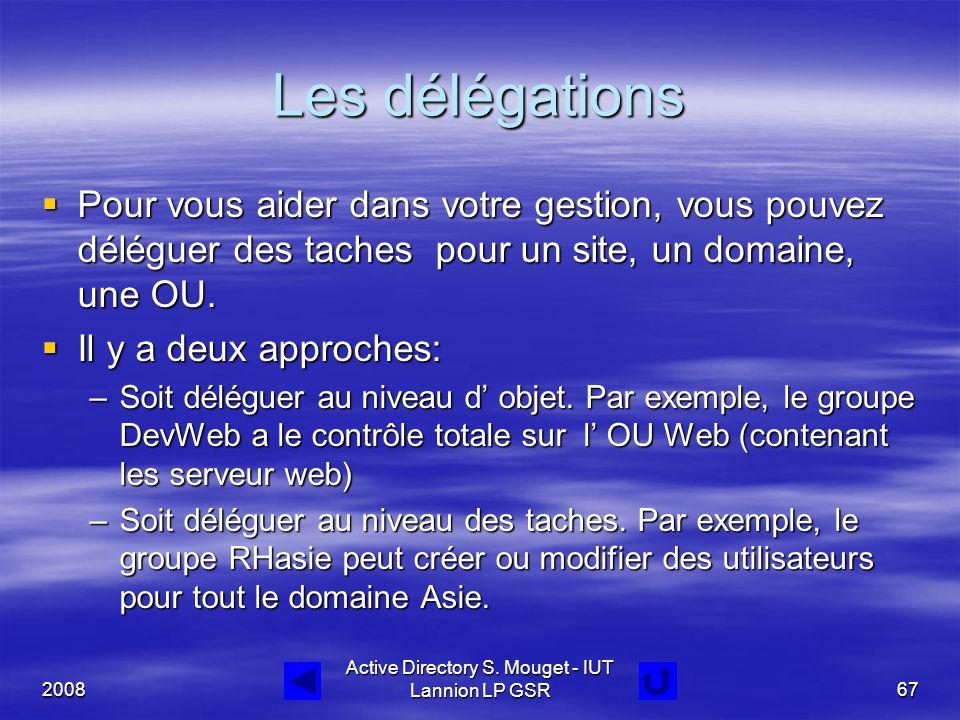 2008 Active Directory S. Mouget - IUT Lannion LP GSR67 Les délégations  Pour vous aider dans votre gestion, vous pouvez déléguer des taches pour un s