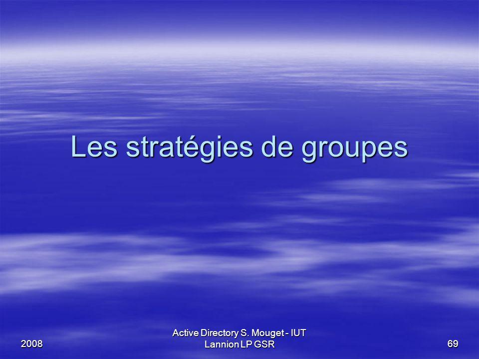 2008 Active Directory S. Mouget - IUT Lannion LP GSR 69 Les stratégies de groupes