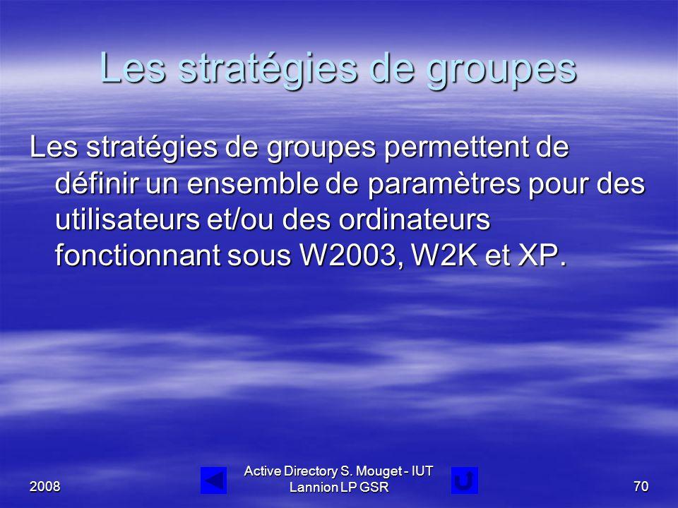2008 Active Directory S. Mouget - IUT Lannion LP GSR70 Les stratégies de groupes Les stratégies de groupes permettent de définir un ensemble de paramè