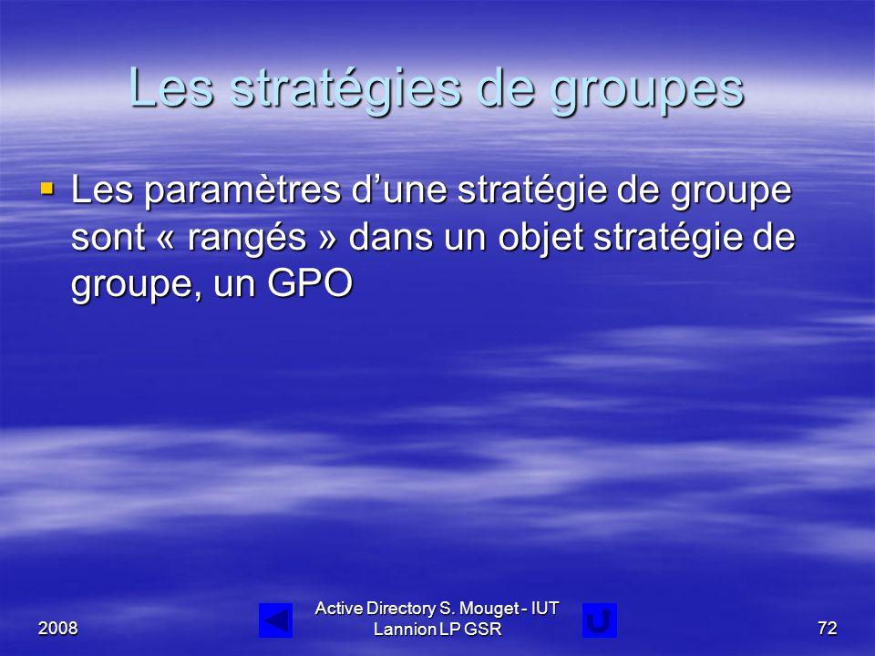 2008 Active Directory S. Mouget - IUT Lannion LP GSR72 Les stratégies de groupes  Les paramètres d'une stratégie de groupe sont « rangés » dans un ob