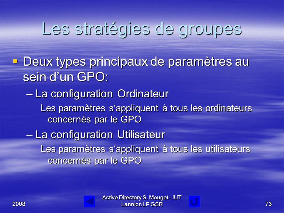 2008 Active Directory S. Mouget - IUT Lannion LP GSR73 Les stratégies de groupes  Deux types principaux de paramètres au sein d'un GPO: –La configura