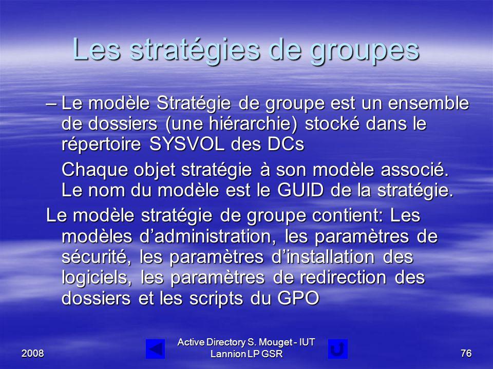 2008 Active Directory S. Mouget - IUT Lannion LP GSR76 Les stratégies de groupes –Le modèle Stratégie de groupe est un ensemble de dossiers (une hiéra
