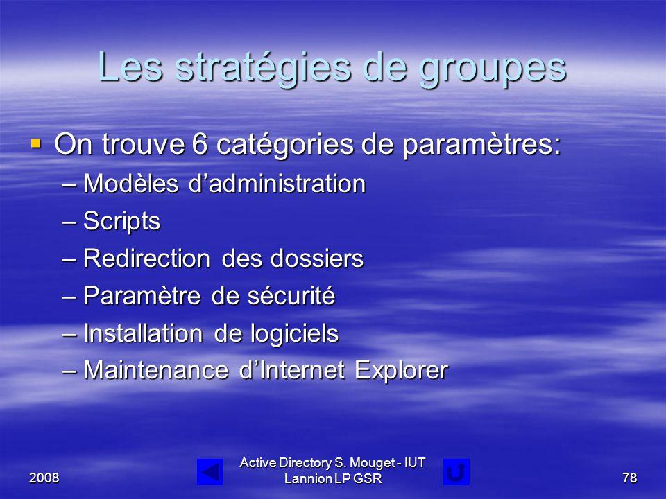 2008 Active Directory S. Mouget - IUT Lannion LP GSR78 Les stratégies de groupes  On trouve 6 catégories de paramètres: –Modèles d'administration –Sc