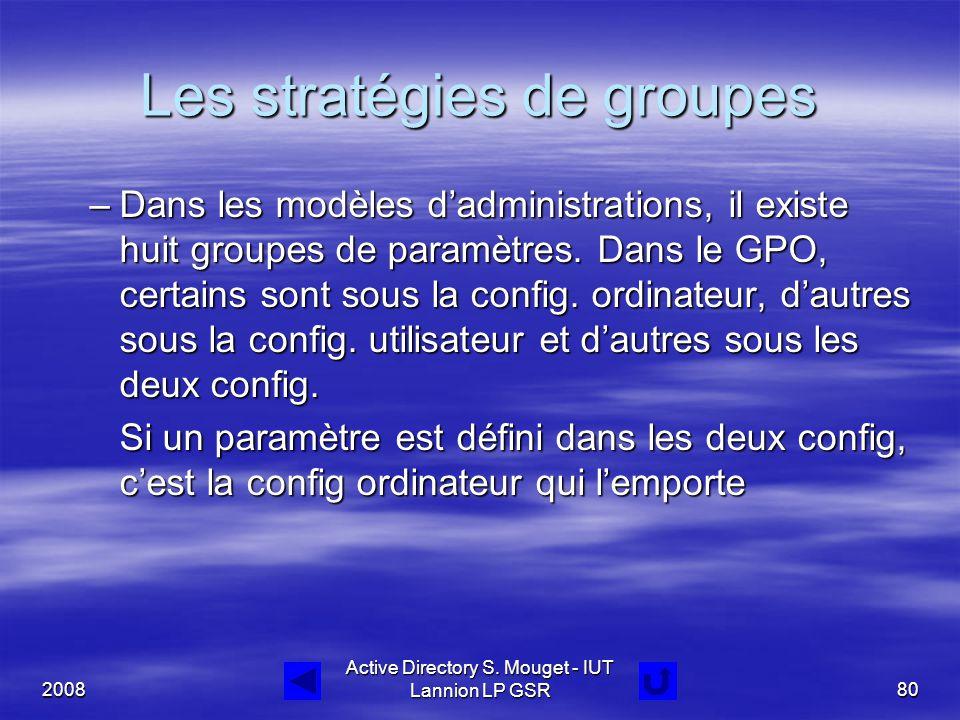 2008 Active Directory S. Mouget - IUT Lannion LP GSR80 Les stratégies de groupes –Dans les modèles d'administrations, il existe huit groupes de paramè
