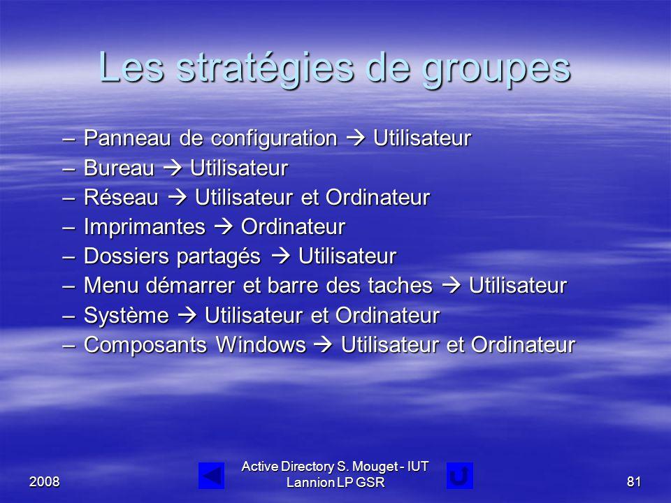 2008 Active Directory S. Mouget - IUT Lannion LP GSR81 Les stratégies de groupes –Panneau de configuration  Utilisateur –Bureau  Utilisateur –Réseau