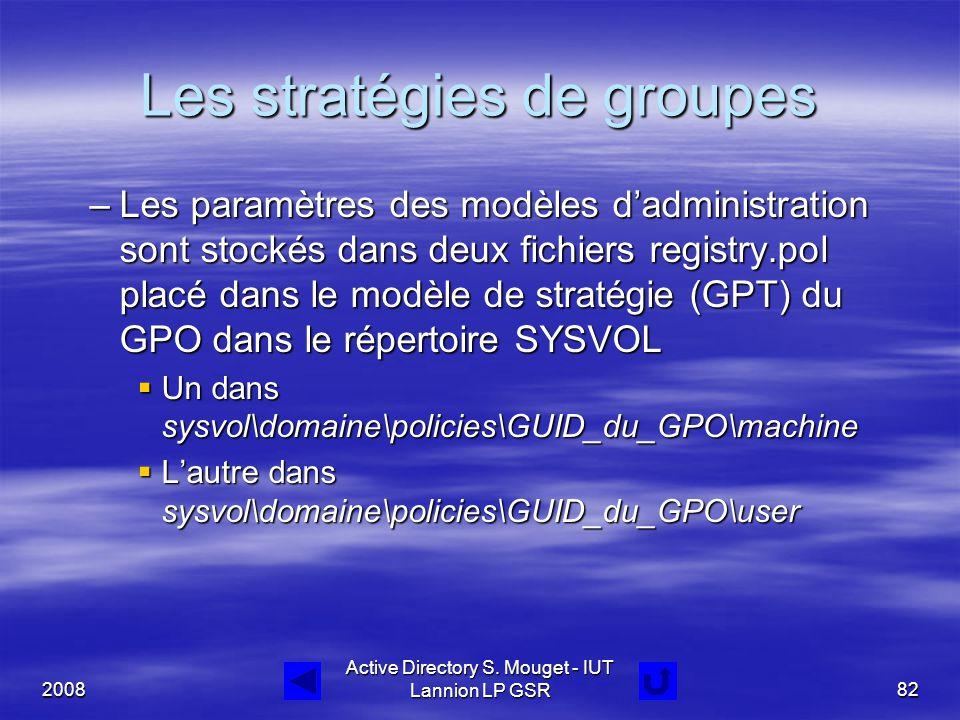 2008 Active Directory S. Mouget - IUT Lannion LP GSR82 Les stratégies de groupes –Les paramètres des modèles d'administration sont stockés dans deux f