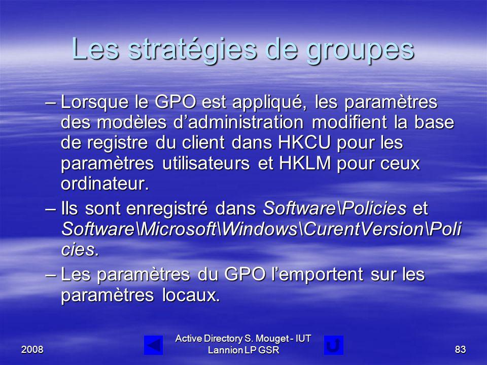 2008 Active Directory S. Mouget - IUT Lannion LP GSR83 Les stratégies de groupes –Lorsque le GPO est appliqué, les paramètres des modèles d'administra