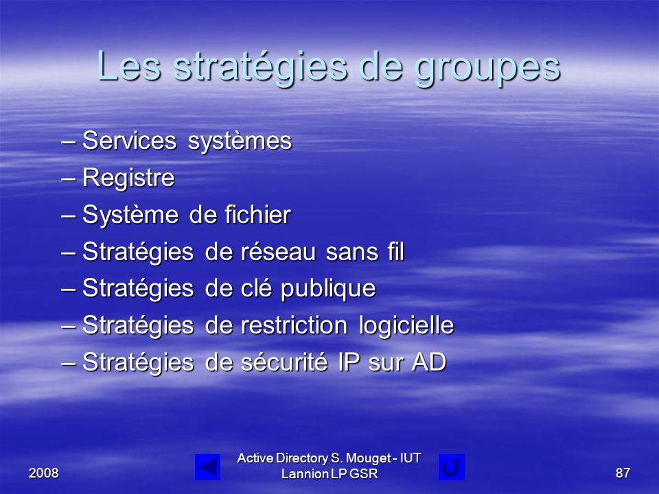 2008 Active Directory S. Mouget - IUT Lannion LP GSR87 Les stratégies de groupes –Services systèmes –Registre –Système de fichier –Stratégies de résea