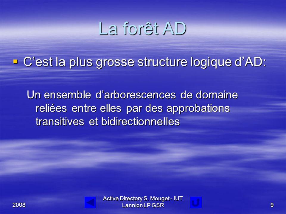 2008 Active Directory S. Mouget - IUT Lannion LP GSR9 La forêt AD  C'est la plus grosse structure logique d'AD: Un ensemble d'arborescences de domain
