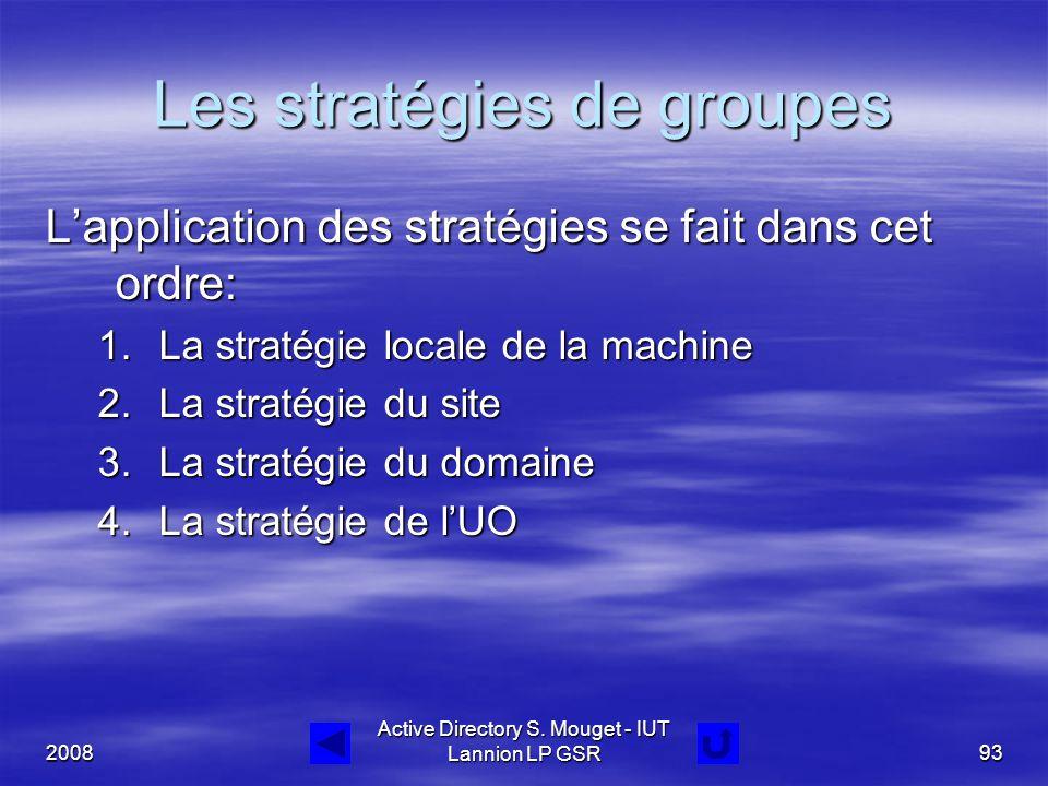 2008 Active Directory S. Mouget - IUT Lannion LP GSR93 Les stratégies de groupes L'application des stratégies se fait dans cet ordre: 1.La stratégie l