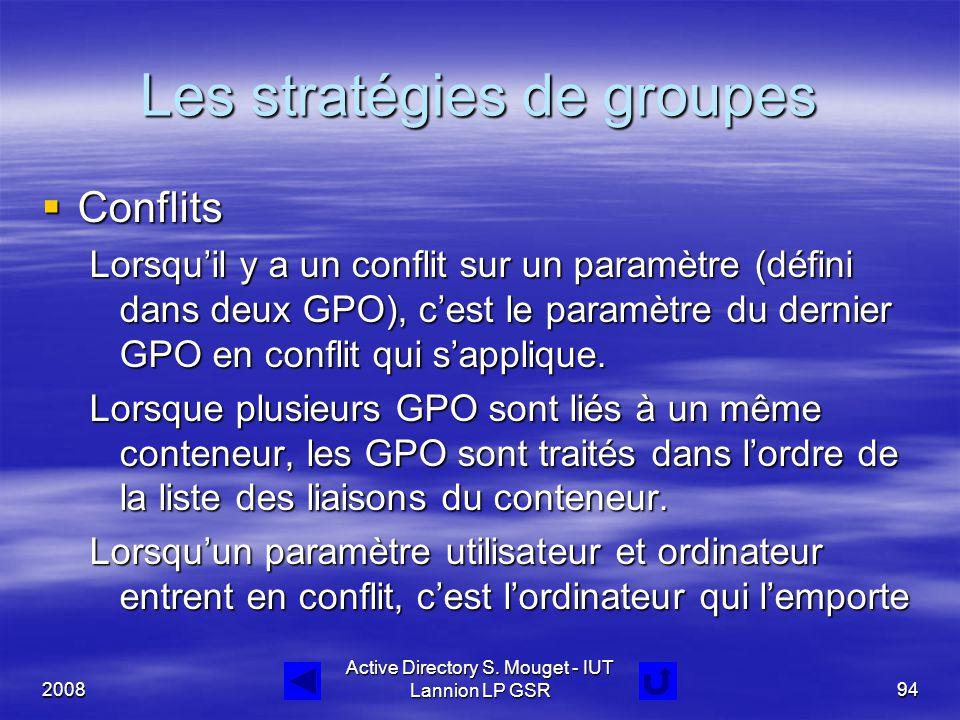 2008 Active Directory S. Mouget - IUT Lannion LP GSR94 Les stratégies de groupes  Conflits Lorsqu'il y a un conflit sur un paramètre (défini dans deu