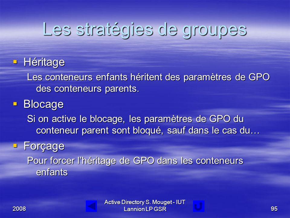2008 Active Directory S. Mouget - IUT Lannion LP GSR95 Les stratégies de groupes  Héritage Les conteneurs enfants héritent des paramètres de GPO des