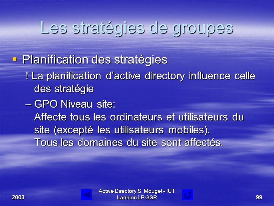 2008 Active Directory S. Mouget - IUT Lannion LP GSR99 Les stratégies de groupes  Planification des stratégies ! La planification d'active directory
