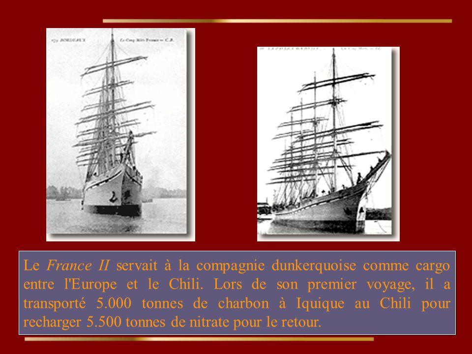 L.Le France II servait à la compagnie dunkerquoise comme cargo entre l Europe et le Chili.