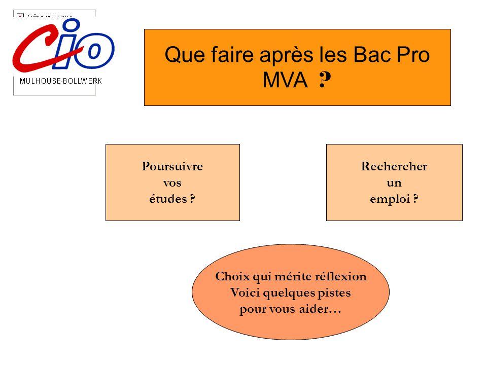 Que faire après les Bac Pro MVA ? Poursuivre vos études ? Rechercher un emploi ? Choix qui mérite réflexion Voici quelques pistes pour vous aider…