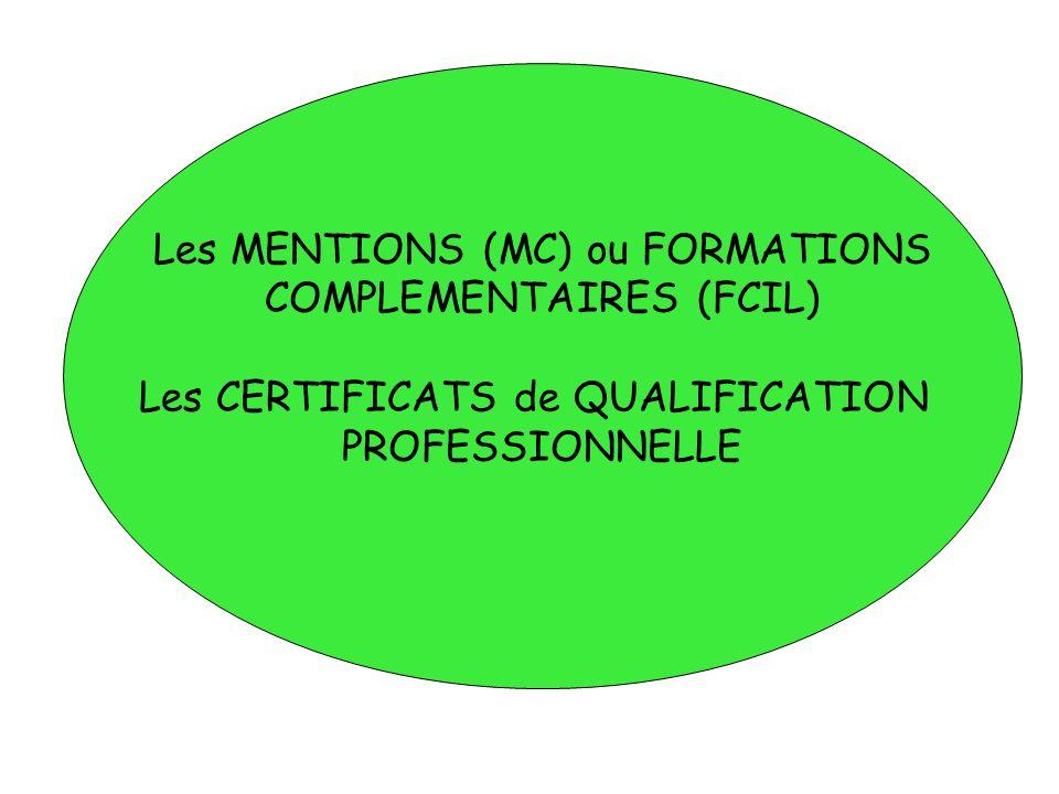 Les MENTIONS (MC) ou FORMATIONS COMPLEMENTAIRES (FCIL) Les CERTIFICATS de QUALIFICATION PROFESSIONNELLE