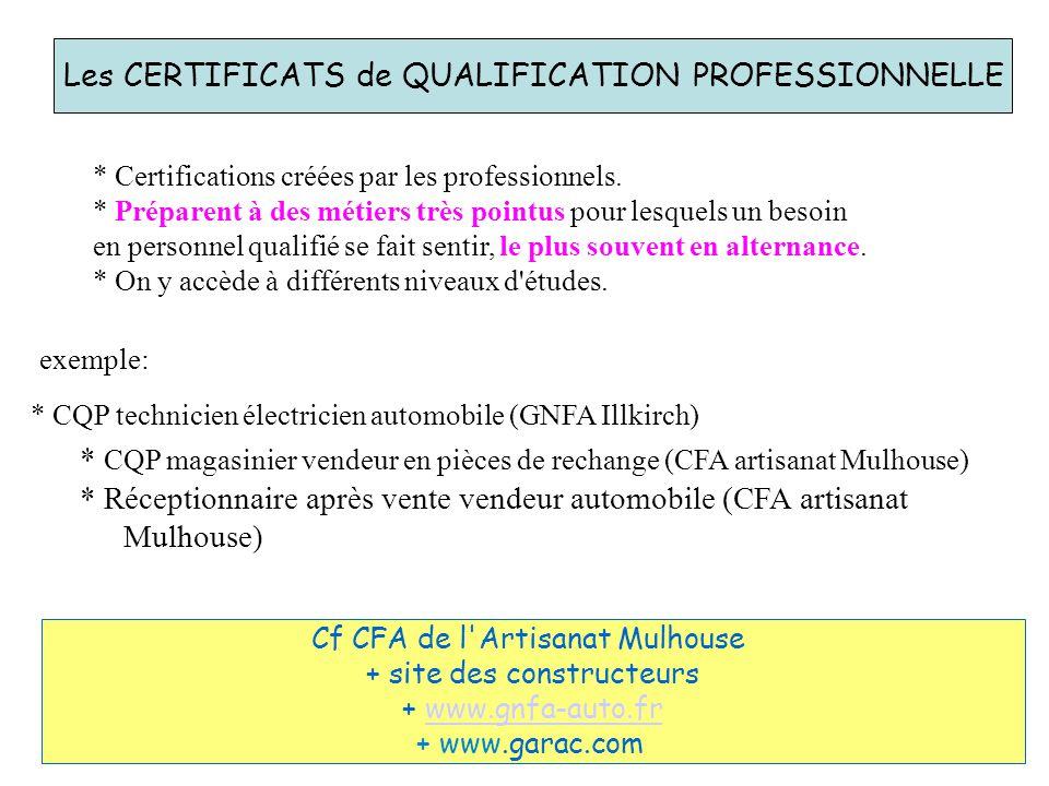Les CERTIFICATS de QUALIFICATION PROFESSIONNELLE * Certifications créées par les professionnels. * Préparent à des métiers très pointus pour lesquels