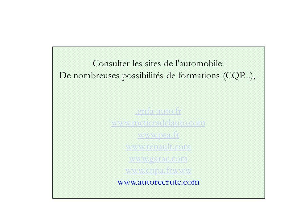 Consulter les sites de l'automobile: De nombreuses possibilités de formations (CQP...),.gnfa-auto.fr www.metiersdelauto.com www.psa.fr www.renault.com
