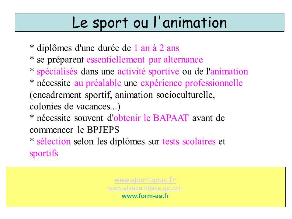 Le sport ou l'animation * diplômes d'une durée de 1 an à 2 ans * se préparent essentiellement par alternance * spécialisés dans une activité sportive