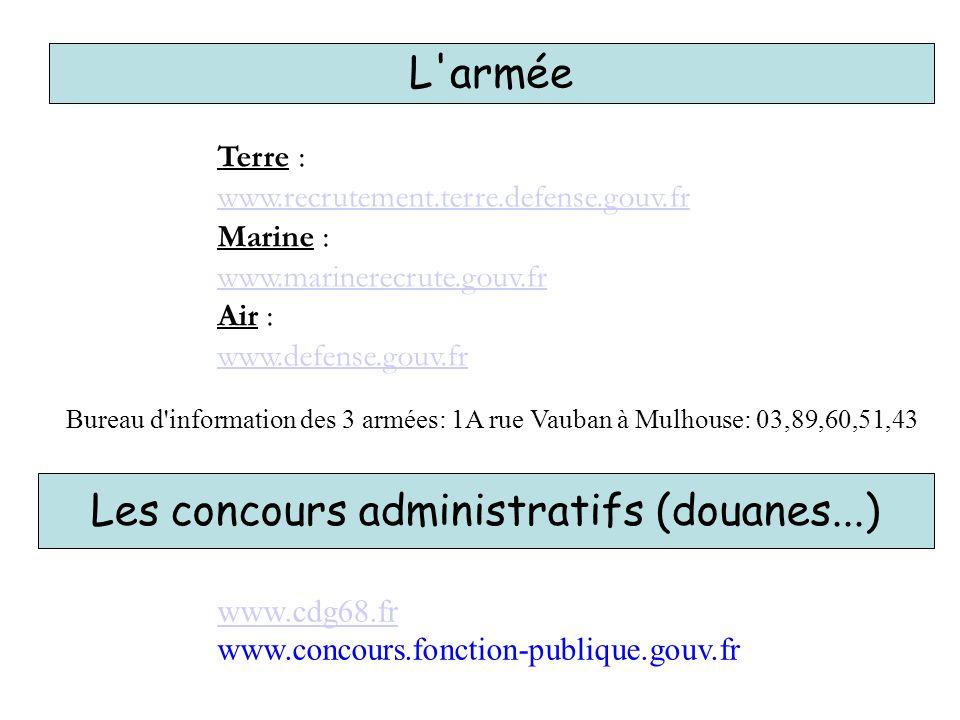 L'armée Terre : www.recrutement.terre.defense.gouv.fr Marine : www.marinerecrute.gouv.fr Air : www.defense.gouv.fr Bureau d'information des 3 armées: