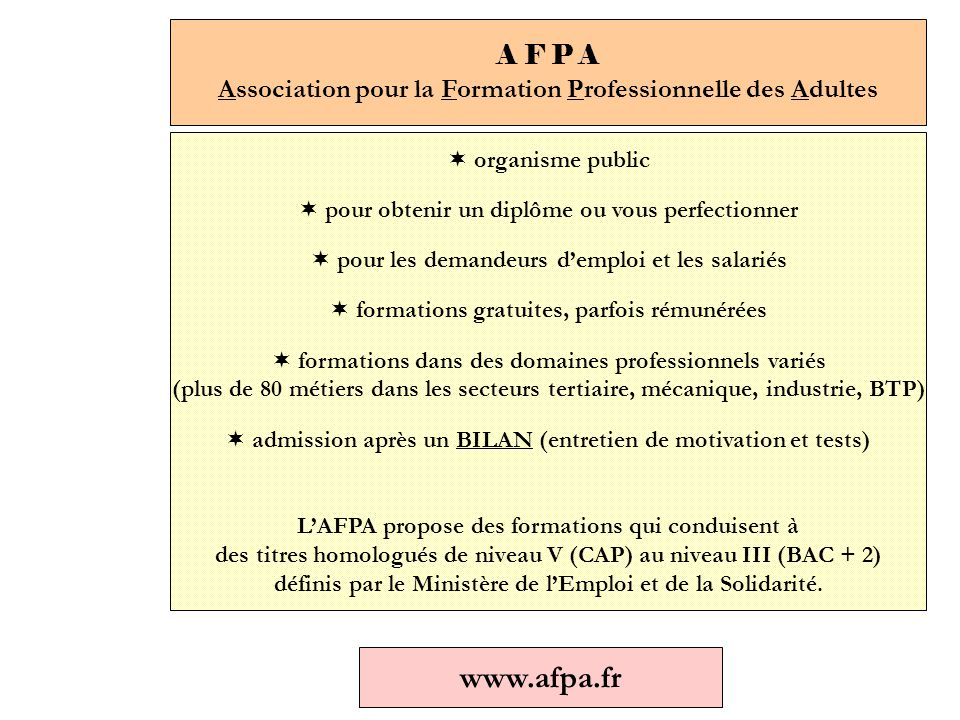 A F P A Association pour la Formation Professionnelle des Adultes  organisme public  pour obtenir un diplôme ou vous perfectionner  pour les demandeurs d'emploi et les salariés  formations gratuites, parfois rémunérées  formations dans des domaines professionnels variés (plus de 80 métiers dans les secteurs tertiaire, mécanique, industrie, BTP)  admission après un BILAN (entretien de motivation et tests) L'AFPA propose des formations qui conduisent à des titres homologués de niveau V (CAP) au niveau III (BAC + 2) définis par le Ministère de l'Emploi et de la Solidarité.