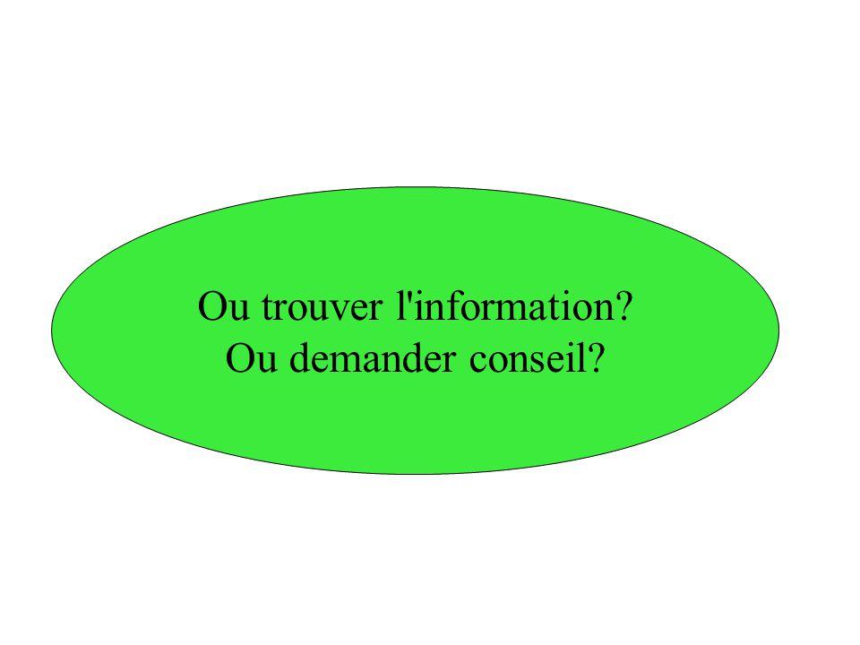 Ou trouver l'information? Ou demander conseil?