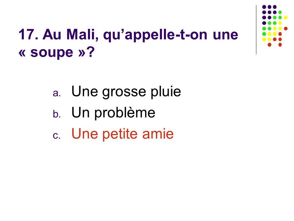 17. Au Mali, qu'appelle-t-on une « soupe »? a. Une grosse pluie b. Un problème c. Une petite amie