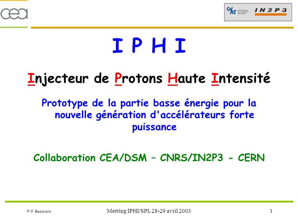 P-Y Beauvais Meeting IPHI/SPL 28-29 avril 20032 Évolutions du projet (1) Avril 2002 : décision DSM-IN2P3-CERN de renforcer la collaboration avec le CERN et de redéfinir les performances de IPHI.