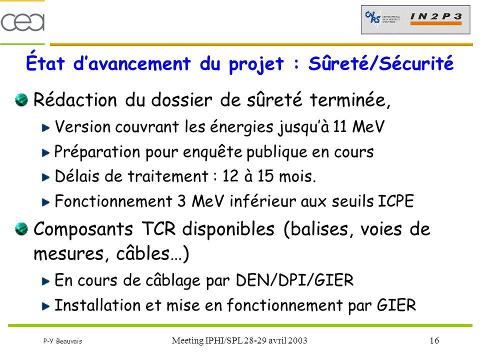 P-Y Beauvais Meeting IPHI/SPL 28-29 avril 200316 État d'avancement du projet : Sûreté/Sécurité Rédaction du dossier de sûreté terminée, Version couvra