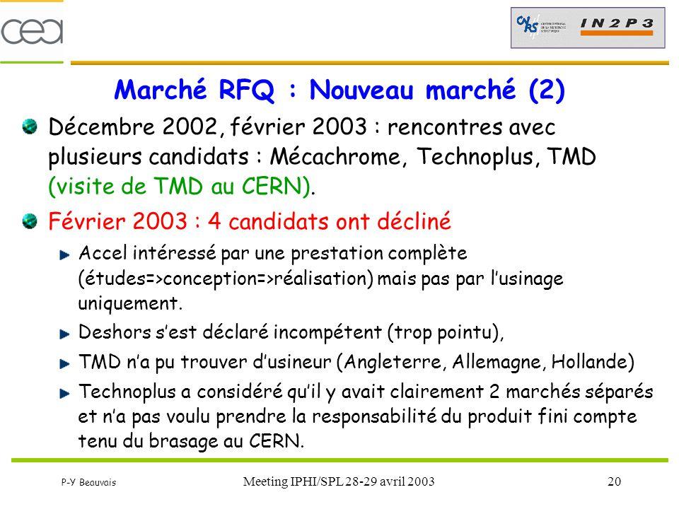 P-Y Beauvais Meeting IPHI/SPL 28-29 avril 200320 Marché RFQ : Nouveau marché (2) Décembre 2002, février 2003 : rencontres avec plusieurs candidats : M