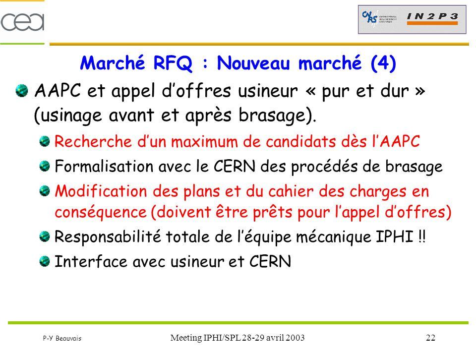 P-Y Beauvais Meeting IPHI/SPL 28-29 avril 200322 Marché RFQ : Nouveau marché (4) AAPC et appel d'offres usineur « pur et dur » (usinage avant et après