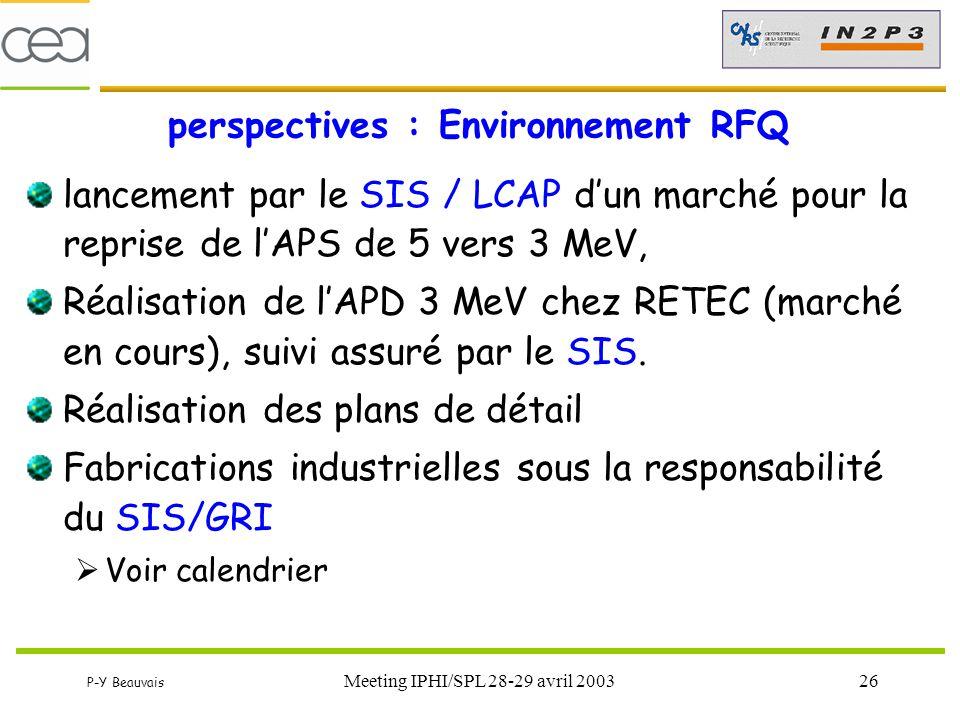 P-Y Beauvais Meeting IPHI/SPL 28-29 avril 200326 perspectives : Environnement RFQ lancement par le SIS / LCAP d'un marché pour la reprise de l'APS de
