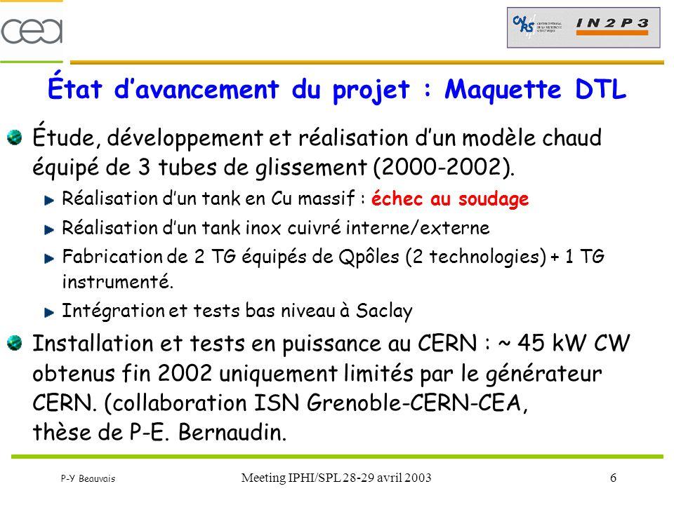 P-Y Beauvais Meeting IPHI/SPL 28-29 avril 200317 Point sur le prototype RFQ (1) Usinage : Beaucoup de retard (désorganisation de SICN) Pièces unitaires conformes Tronçon assemblé contrôlé conforme Brasages (SICN chez VTS) Brasages des boîtiers et brides OK (  = 850°C) Échec du brasage final Mauvais contrôle de la température de brasage « Débrasage » brides, fuites…