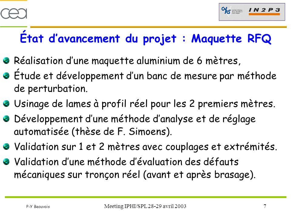 P-Y Beauvais Meeting IPHI/SPL 28-29 avril 20038 État d'avancement du projet : Environnement RFQ Lancement en 2001 d'un marché APS + APD 5 MeV APS 5 MeV pratiquement terminé… (formalisation) APD stoppé à la suite de la redéfinition 3 MeV  Reprise et adaptation APS pour 3 MeV (Nouvelle commande)  APD 3 MeV (sur marché RETEC en cours)