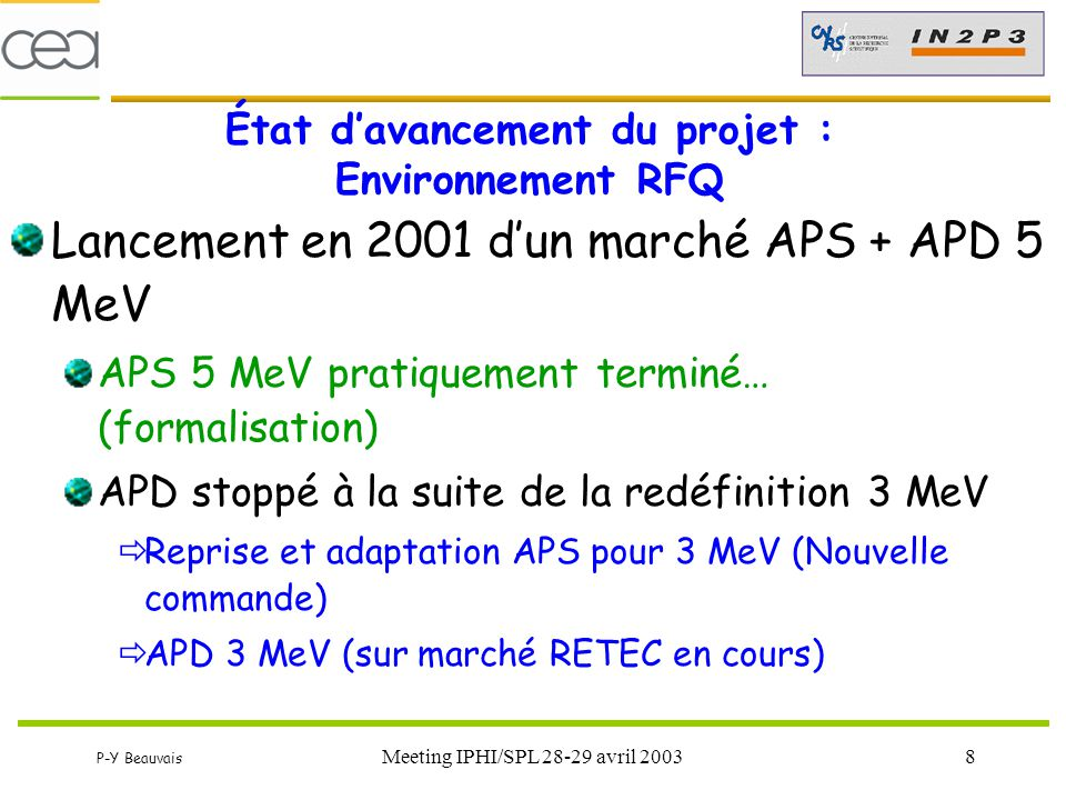 P-Y Beauvais Meeting IPHI/SPL 28-29 avril 20038 État d'avancement du projet : Environnement RFQ Lancement en 2001 d'un marché APS + APD 5 MeV APS 5 Me