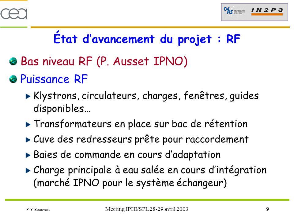 P-Y Beauvais Meeting IPHI/SPL 28-29 avril 20039 État d'avancement du projet : RF Bas niveau RF (P. Ausset IPNO) Puissance RF Klystrons, circulateurs,