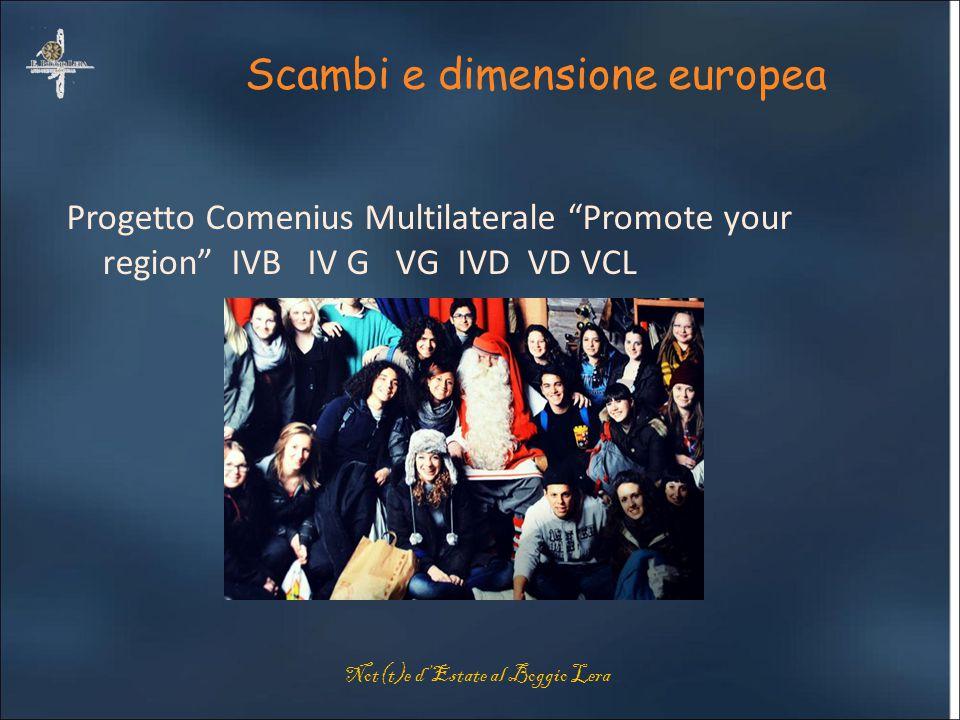"""Scambi e dimensione europea Progetto Comenius Multilaterale """"Promote your region"""" IVB IV G VG IVD VD VCL Not(t)e d'Estate al Boggio Lera"""