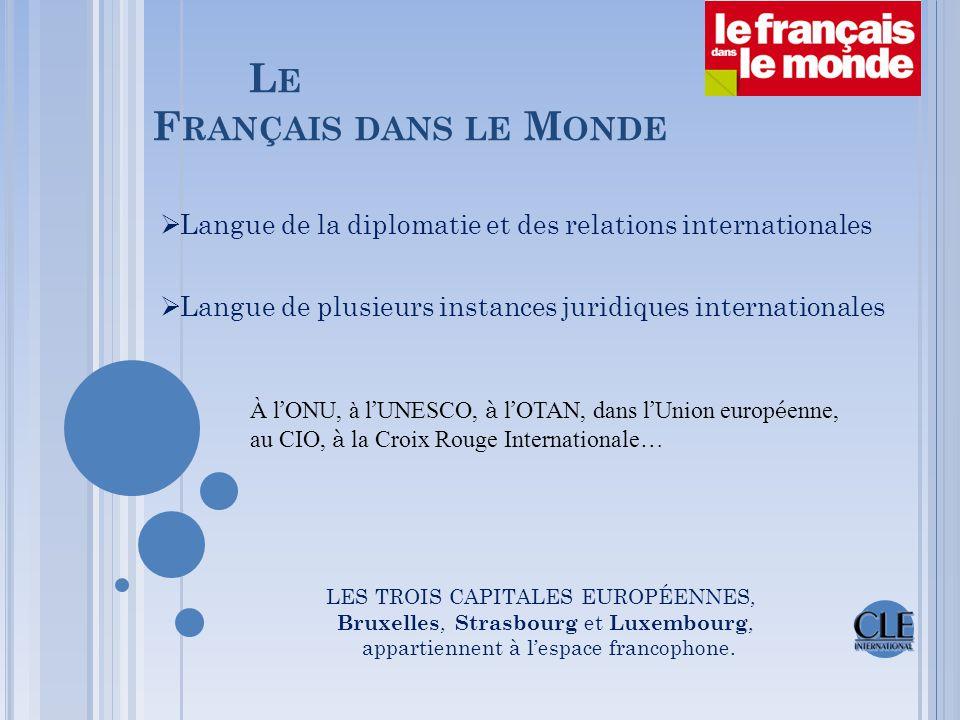 L E F RANÇAIS DANS LE M ONDE  langue officielle dans 32 États membres  2 e langue maternelle au sein de l'Union européenne  2 e langue étrangère au