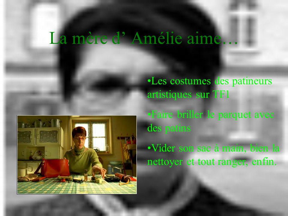 Amélie J'aime bien me retourner dans le noir pour voir le visage des autres. Et puis, j'aime repérer le detail que personne ne verra jamais. Mais j'ai