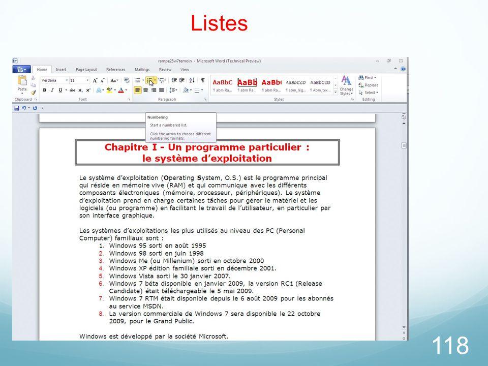 118 Listes