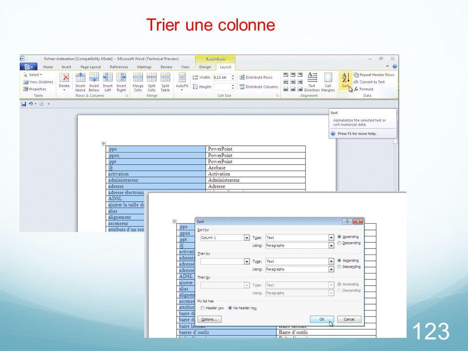 123 Trier une colonne