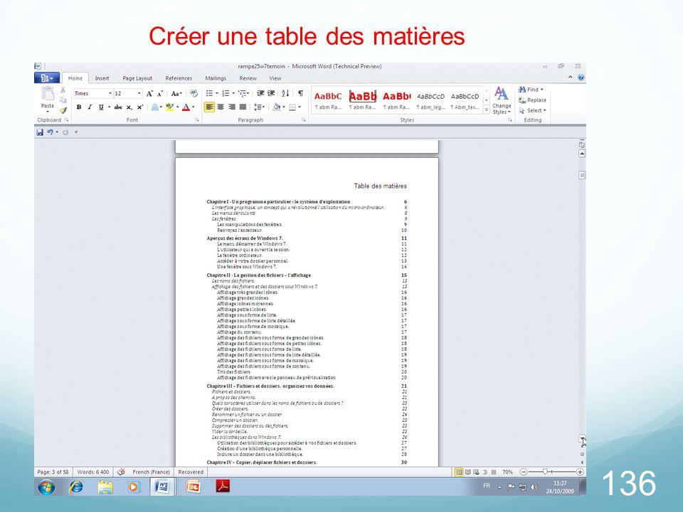 136 Créer une table des matières
